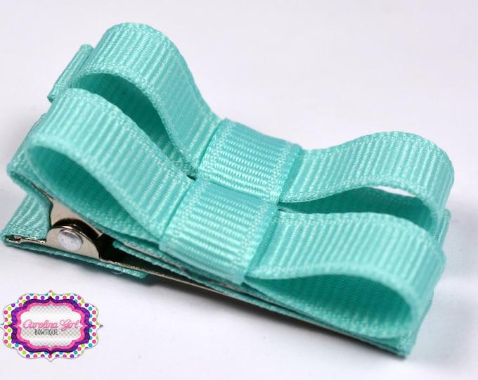 Aqua Hair Clips Basic Tuxedo Clips Alligator Non Slip Barrettes for Babies Toddler Girl Set of 2