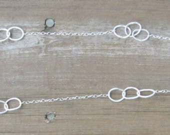 """Long Silver Necklace, Hammered Silver Hoops, Argentium Silver Chain, 33"""""""