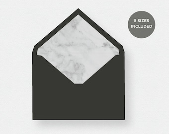 Envelope Liner Template | 5 Envelope Sizes Included Printable Instant Downloads | White Marble | No. EDN 5229