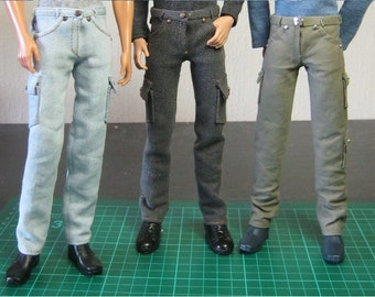 "PDF Full tutorial with pattern TUTE#002: Jeans & pants for 12"" male dolls, such as Ken. Also fits Tonner Patience."