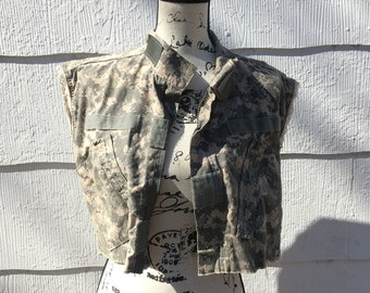 Upcycled Lace Trim Camo Crop Vest