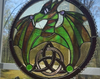 Stained Glass Flying Celtic Dragon with Trinity Knot