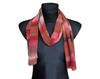Mens Scarf, Men Scarf, Silk Scarf, Brown Scarf, Scarf For Men, Gift For Him, Boyfriend Gift, Gift for Boyfriend, Gift For Husband