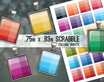 Ombre Chevron Collage Sheet Digital Scrabble Tile Images .75x.83 on 4x6 and 8.5x11 Download Sheets for Glass or Resin Pendants E0015