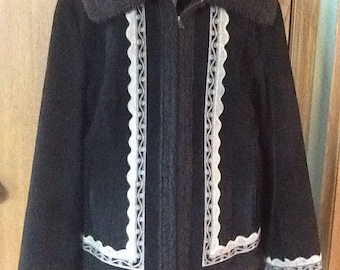 Vintage Womens Coat Jacket Size M 8/10 Black Faux Suede Quilted Lining Zipper Front