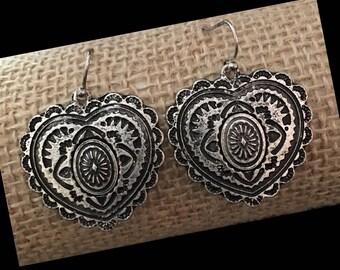 Antique Silver Dangle Heart Earrings