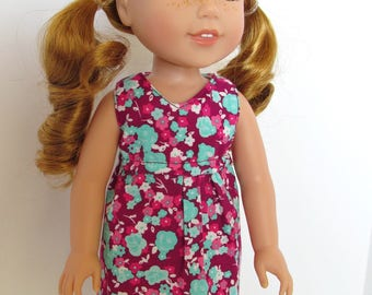 Maroon/Aqua Rose Print Sleeveless Dress, fits 14 inch dolls like Wellie Wishers, Girl Doll Clothes, American made, Summer, Spring,