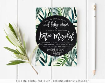 Tropical Baby Shower Invitation, Palm Leaf, Palm Tree, Unique, Boho, Gender Neutral Invitations, 520