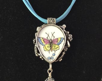Broken China Jewelry / Butterfly Necklace / Broken China Necklace /