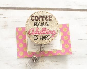Nurse Badge Reel - ID Badge Reel - Coffee - Latte - Happy Coffee - Gift - RN - Pediatric Nurse - Name Badge - Badge Reel - Holder -