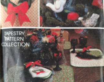 Vintage Avon Season's Greetings Tapestry Collection Includes Table Runner, Placemats, Napkins, Stocking, Wreath, and Ornaments Patterns