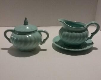 Vintage Franciscan Coronado Swirl Pattern Ware Sea Foam Blue or Aqua Blue. Sugar with lid,Creamer and Plate 4 pieces