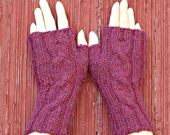 Berry pink alpaca fingerless gloves, Natural fiber knitted wrist warmer, Cabled mitts, Luxury fingerless mitts made in usa /Made to order