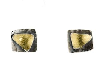 Argentium Silver and 22K Gold Bimetal Stud Earrings