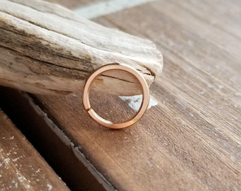 18 gauge Nose Ring, 14k Rose Gold Filled Endless Hoop, Body Jewelry, Seamless Hoop, 8mm, 9mm or 10mm ID - Artisan Earring