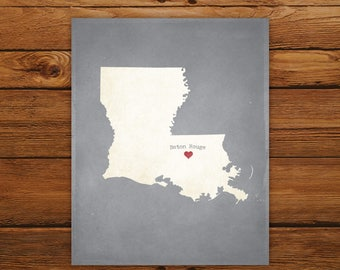 Customized Printable Louisiana State Map - DIGITAL FILE, Aged-Look Personalized Wall Art