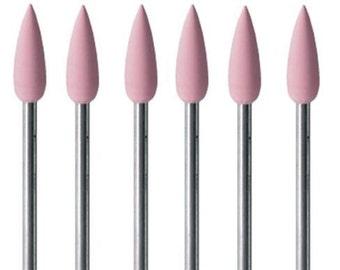 Mounted Silicone Pink Points Fine Grit Pkg 6 Jewelry Polishing Foredom Dremel Wa 100-838