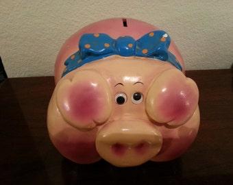 Ceramic Pink Pig Piggy Bank with Blue Bow
