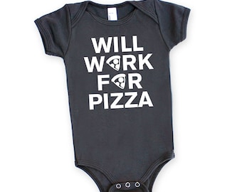 Will Work For Pizza Baby One Piece Romper in Asphalt Grey with White print - Adorable Baby Shower Gift, Funny Text Food Lover Chef Foodie