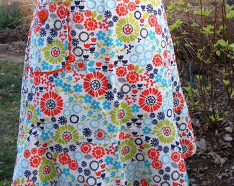 Half Apron - Summer Floral Print / Mother's Day gift