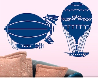 Steampunk Hot Air Balloon Decals | Steampunk Vinyl Wall Decal | Steampunk Wall Decor | Boys Girls Bedroom Decor | Dirigible, Blimp, Airship