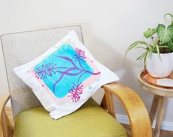Bottlebrush Handpainted Square Cushion