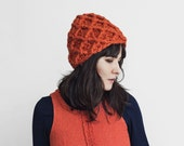 Thick Winter Beanie - Crochet Hat- Textured Chunky Beanie - Woman's Accessories - Geometrical Winter Hat in Pumpkin | The Triton Hat |