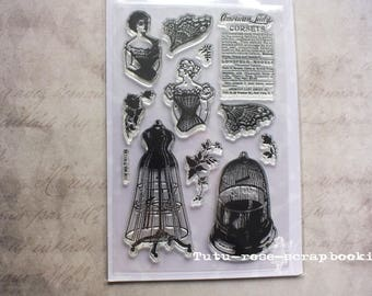 11 stamps clear style shabby chic vintage scrapbooking cardmaking fashion romantic woman corset cage advertising