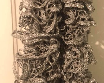 Grey and Metallic Silver Handmade Knitted Ruffle Scarf