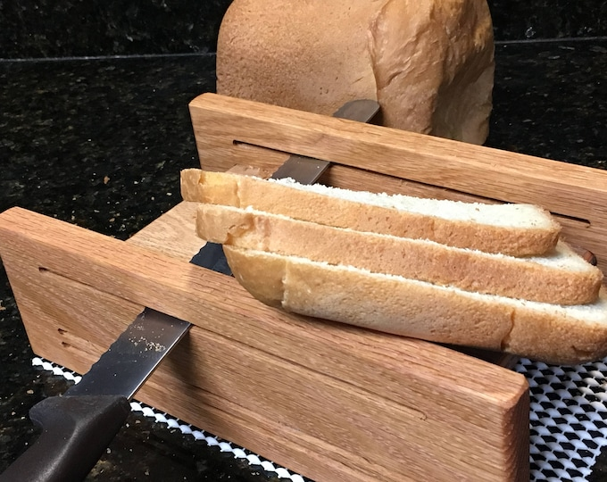 Featured listing image: Horizontal Three Thickness Bread Slicing Guide Made of Oak with Protective Finish Applied.  Includes Anti Slip Mat.