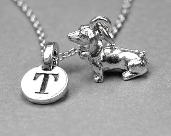 Small Dachshund Dog Charm Necklace, daschund, doxie, silver plated pewter, initial necklace, initial hand stamped, personalized, monogram