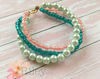 Girls beaded pearl bracelet - little girls seed bead bracelet - multi strand bead bracelet - teen jewelry - mint and pink