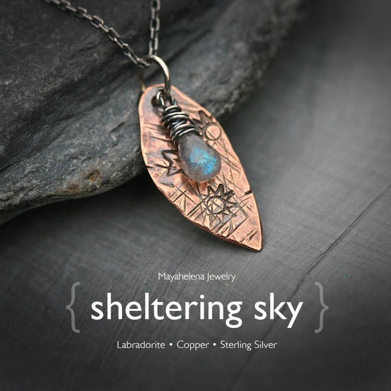 The Sheltering Sky - Textured Copper Leaf Feather and Labradorite Charm Necklace