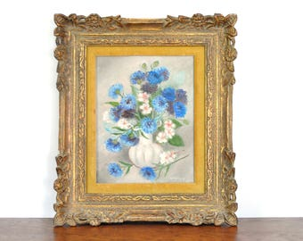 Vintage Hand Painted Flower Painting by Gertrude Mattocks, California Artist, Ornate Frame