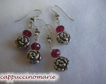 Sterling silver roses - One At A Time Earrings - buy one, or buy them all