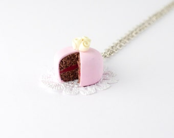 Birthday necklaces for women - romantic necklace - miniature food - pink necklace - gift for her - polymer food jewelry - kawaii necklace