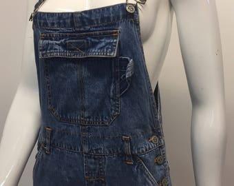 90's full length denim overalls || size small