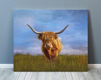 Highland Cow,Highland Cow Print, Highland Cow Art,Cow Print, Cow Art, Cow Picture, Highland Cow Canvas,Cow Gift-sells UK/USA/AUSTRALIA