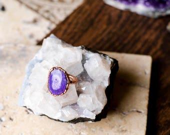 Purple Solar Quartz Ring Size 4 3/4
