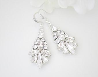 Statement crystal earrings-Rhinestone chandelier-Glamorous vintage style bridal jewelry-Swarovski wedding earrings-Crystal dangle earrings