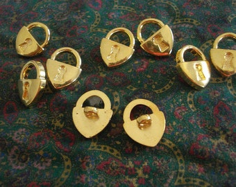 Gold Toned Buttons, Lock Shaped Buttons, Shank Buttons, Lot of 9