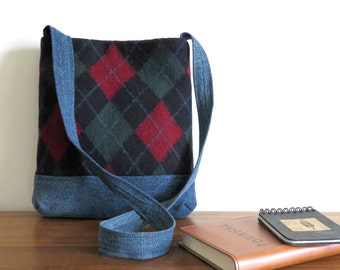 SALE - James Shoulder Bag in Navy Argyle Sweater Wool and Denim, Eco Friendly Upcycled Purse