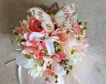 Custom Order for ONE Flower Girl Tutu Butterfly Pom Wand Ivory Coral Blush Green