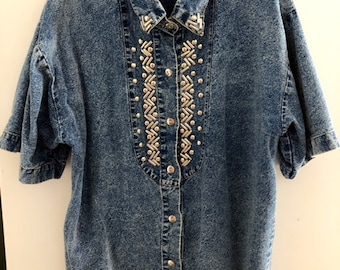 denim 80's studded shirt