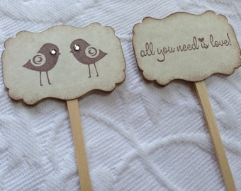 Love Bird Cupcake Picks - All You Need Is Love Cupcake Toppers - Food Picks - Wedding Bridal Shower Decor - Set of 12