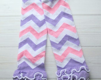 Baby Girl Leg Warmers  * Clearance Sale * Lavender, Pink and White Chevron Stripes with Ruffles