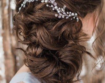 TINY SILVER   Bridal hair comb wedding hair vine bridal headpiece crystal hairpiece white decorative comb