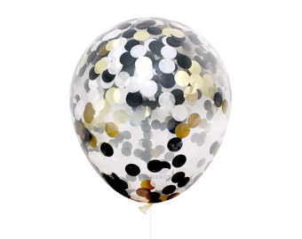 "Black White & Gold Confetti Balloon - Black Tie - Choose 12, 16, 18, 36 inch - B4 Ivory Metallic Handmade 1"" Circle Tissue Paper Filled"
