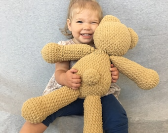 Large crochet teddy bear - big handmade teddy - super soft teddy bear - Yarn at Heart - baby keepsake - nursery decor - toddler gift