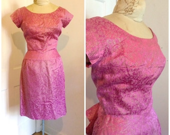 Vintage 1960s pink brocade dress, party dress, wiggle dress, size xs, small, 0, 2, 4